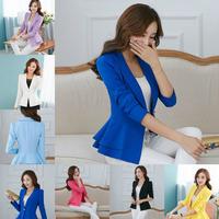 Fashion Jacket Blazer Women Suit Foldable Long Sleeves Lapel Coat Candy Color Blazer Single Button Vogue Blazers Jackets 325