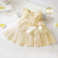 Fashion Baby Girls Dress Children's Princess Dress 8 Colors Girl's Party Dress Lace Bowknot Baby Dress 0-2T Girl Clothing Summer