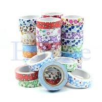 1PC New Lots 15mm Flower Wide Dots Checks Decor Washi Paper Tape DIY Making Sticker