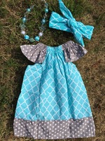 2015 top sale baby polka dot dress girl dresses quatrefoil pillowcase dress with necklace and bow