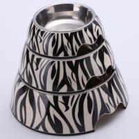 Pet product food grade Melamine dish dog food bowl zebra picture 3 size to choose for dog&cat mascotas perros