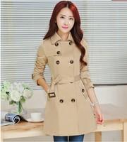 new spring 2015 autumn desigual coat women medium-long sashes trenchcoat slim women casual dress trench coat for women