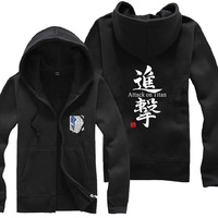 Anime Attack On Titan logo Zipper Sweatshirt Suit The Autumn long sleeve hoody Outerwears tshirt