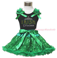 St Patrick Day Rhinestone Irish Princess Black Top Bling Green Sequin Skirt 1-8Y MAPSA0439