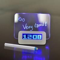 O3T# New Designer Blue LED Fluorescent Digital Alarm Clock Message Board USB 4 Port Hub