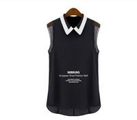 Free Shipping 2015 New Fashion Spring Summer Brand Women Sleeveless Tops , Black White Female Chiffon Blouses SIZE XS-XL