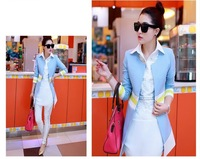 2015 spring new women's windbreaker jacket female Korean yards long section of the Spring and Autumn Slim sweet ladies