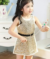 5pieces/lot, Summer Toddlers Girls Sequin Dresses, Kids Baby Sequined Dress, pink/golden/silver/blue,  A-me028
