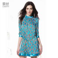 silk dress freeshipping 2015 spring slim shirt sleeve heavy silk fashion high quality ladies elegant one-piece dress