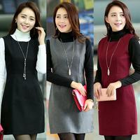 Woolen vest one-piece dress autumn and winter 2015 winter slim sleeveless basic plus size vest women's