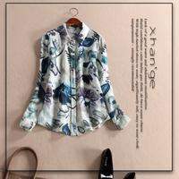 Free shipping! European 2015 spring turn-down collar long-sleeve print linen shirt top d254215