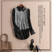 Free shipping! 2015 spring houndstooth elegant turn-down collar long-sleeve slim silk shirt d246152