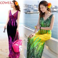 2015 New Summer Dress V Collar Dress Bohemia Beach Long Dress Plus Size Dress Free Shipping