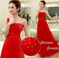 New 2015 Elegant champagne color one shoulder long design party chiffon evening dress vestidos longo Gown
