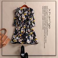 2015 spring elegant o-neck slim three quarter sleeve print one-piece dress d254403
