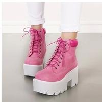 2015 Size 35-39 Harajuku Style Spring Women Retro Trifle Platform Ankle Boots Student Fashion Short Boots 2444