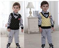 Spring Kids fashion children's clothing set Baby Boy's set cotton clothing baby gentlemen Flag vest /shirts +bow tie +trousers