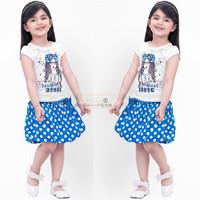 Free shipping -5sets/lot -2pcs baby clothing suit -Girls cartoon printed short-sleeved T-shirt + blue dot tutu skirt