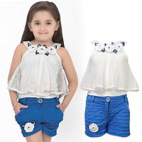 Free shipping -5sets/lot -2pcs baby clothing suit -Chiffon flower girls vest + blue shorts - Girls leisure suit