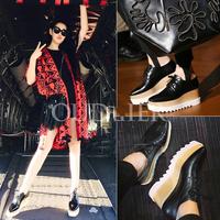 2015 square toe wedges single shoes female platform genuine leather fashion all-match women's platform shoes