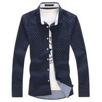 5XL Plus Size Shirt Man Mens Designer Clothes 2015 Brand High Quality Slim Fit Camisa Long Sleeve Casual Shirts for Man Dress