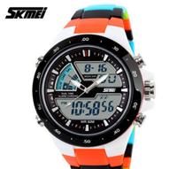 2015 SKMEI Brand Men Sports Military Watches Fashion Casual Dress Wristwatches 2 Time Zone Digital Quartz LED Watches