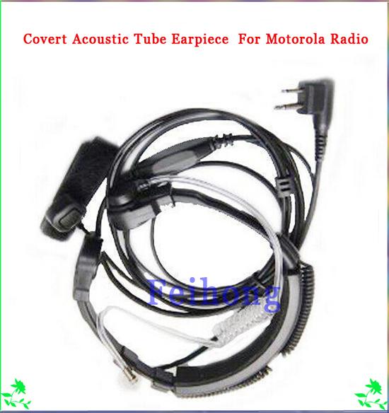 2 Pin Throat Mic Microphone Covert Acoustic Tube Earpiece Compatible For Motorola GP2000 , GP2100, GP300, GP88, GP88S Radio(China (Mainland))