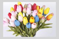 24PCS/LOT PU mini Tulip flower real touch Wedding flower Artificial Flower silk flower Home Decoration 6Colors (no vase)