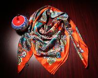 Silk satin scarf, 140cm X140cm square silk scarf, Women's Elegant Scarves Shawl f Autumn Winter ,Best Gifts , free shipping