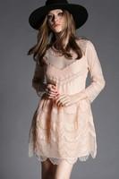 Free shipping 2015 spring fashion gauze embroidery three quarter sleeve slim black dress t2821 casual dress wholesale va2040
