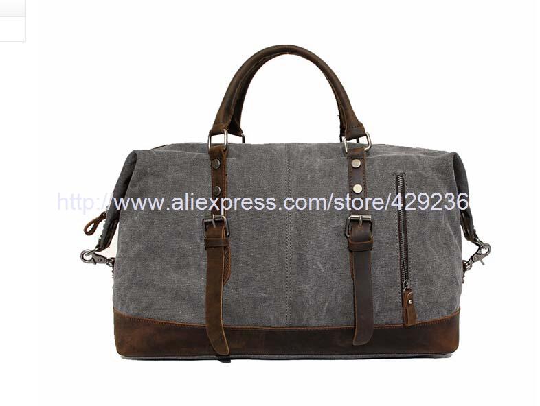 Canvas Duffle Bag Leather Canvas Travel Bag Fashion Travel Bag Larger Travel Duffle M0005()