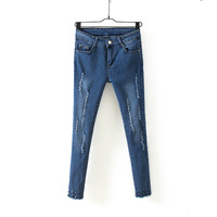 2015 Spring Denim Slim Skinny Empire Waist Jeans Pencil Pants Trousers Washed Soft Ripped Feminina Trousers for Women Plus Size