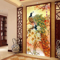 Needlework Entrance Hallway Painting Peacock Magnolia Blossoming Cross Stitch Kit Embroidery Set 80x150cm  DIY Home Decoration