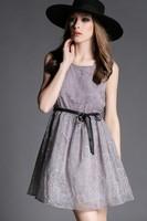 Free shipping 2015 spring and summer women's cashew flowers o-neck belt slim tank dress t2827 casual dress wholesale va2043