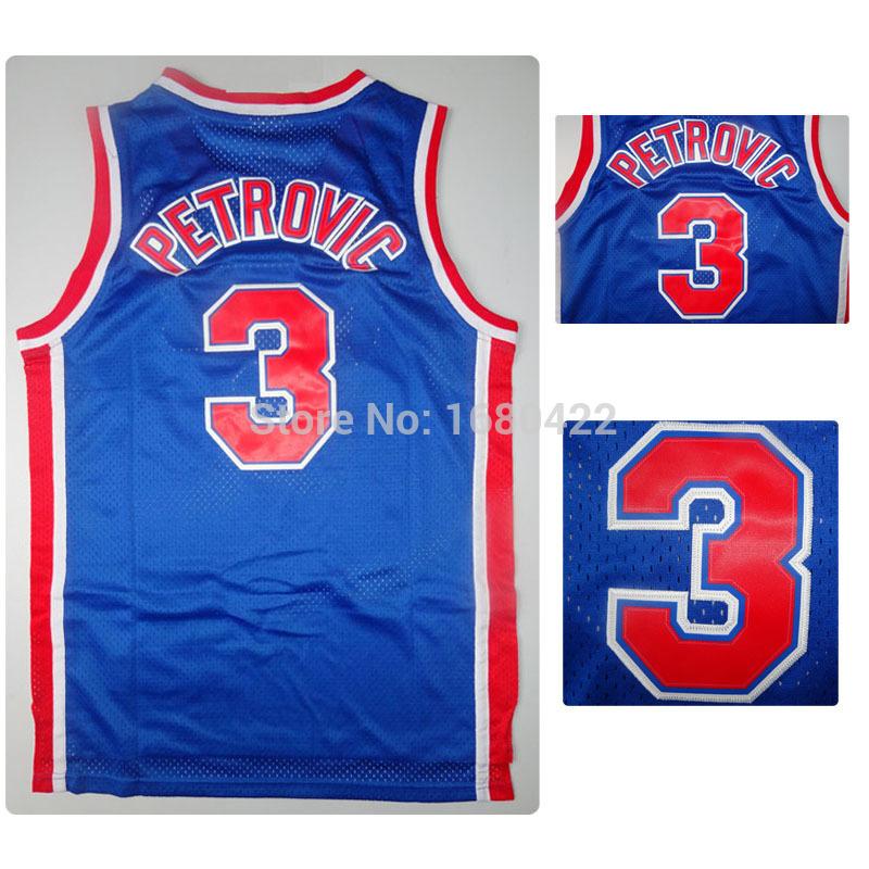 High Quality Brooklyn #3 Drazen Petrovic Jersey Blue Throwback Basketball Jerseys Retro Basketball Shirt Wholesales(China (Mainland))