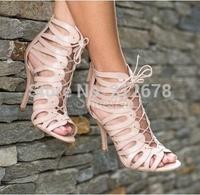 Lace up Cutout Women Dress Shoes Sexy peep toe Belt Roman Summer sandals