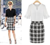 2015 new summer women's European leg Slim spell color sleeve V-neck dress summer dress