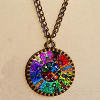 Wholesale 6$  Homestuck Necklace God Mandala Art Glass Pendant  cosplay Fashion Jewelry Charm Chain Gift Vintage lot