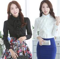 new 2015 feminina woman chiffon blouse blusas  blouses tops solid long-sleeve office shirt shirts female  women Clothing