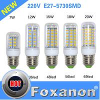 Foxanon E27 Led Lamps E14 G9 5730 220V 110V 7W 12W 15W 18W 20W LED Lights Corn Led Bulb Christmas Chandelier Candle Lighting
