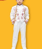 Free ship luxury children's boys black/white floral embroidery tuxedo medieval suit with pants stage costume renaissance costume