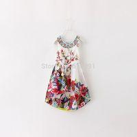 2015 summer new arrival girls dress Bohemia style flower princess long dresses cotton kids clothes vestido for age 2-6Y retail