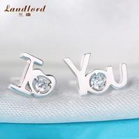 Beautiful Asymmetric Design Earring 100% Pure 925 Sterling Silver Earrings For Women I Love You Letter Stud Earrings Girl CE0094