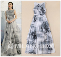 Fashion spring and summer formal dress noble chinese style ink print ruffle slim one-piece dress