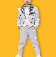 Free ship luxury children's boys light grey/white lace collar swallowtail suit wedding/ stage performance/full set