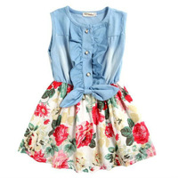 kIDS girl Children 3Y 5Y Summer Fashion Printed Flower Patterns cowboy Dresses Denim Sleeveless hot Gift 2982