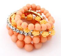 2015 New Arrival Women Strand Bracelets Fashion Bohemia Style Sweet Pink Roses Multilayer Elastic Bead Bracelet