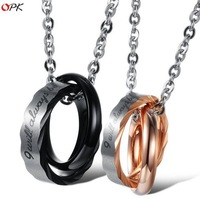 OPK Stainless Steel Couple Pendent Necklace His & Hers Fashion Matching Set 2015 Romantic Couple Jewelry, GX860