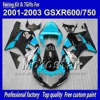 Body work fairings for SUZUKI GSXR 600 K1 2001 2002 2003 GSXR 750 01 02 03  glossy black water blue fairing set QQ68