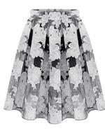 Free Shipping 2015 Plus size Spring Summer fashion basic pleated skirt ,organza print Euro Skirts   XL XXL XXXL